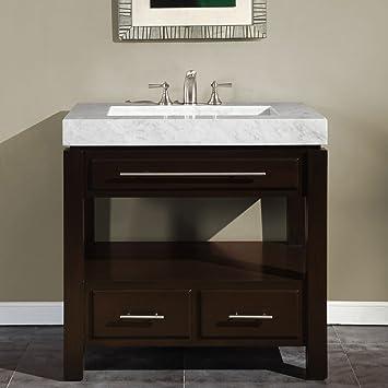 silkroad exclusive dark walnut marble stone top sink cabinet bathroom vanity 36inch