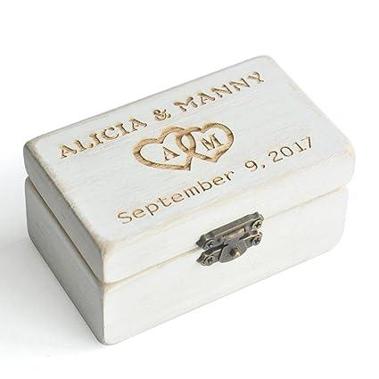 Amazon personalized ring bearer box custom rustic wedding ring personalized ring bearer box custom rustic wedding ring box wooden bearer box wooden junglespirit Images