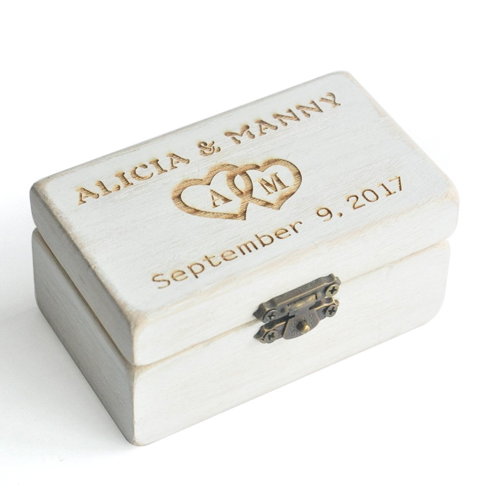 Personalized Ring Bearer Box, Custom Rustic Wedding Ring Box , Wooden Bearer Box, Wooden Box for Rings W-006