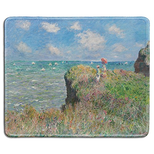 (dealzEpic - Art Mouse Pad - Natural Rubber Mousepad with Famous Fine Art Painting of Cliff Walk at Pourville by Claude Monet - Stitched Edges - 9.5x7.9 inches )