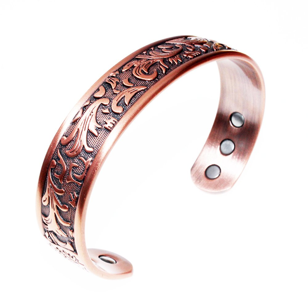 LONGRN Copper Bracelet Used for Arthritis - a Pure Copper Magnetic Bracelet with 6 Magnets for Men and Women to Effectively Relieve Joint Pain. by LONGRN