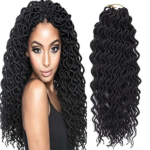 Yonova 6 Packs Curly Faux Locs Crochet Hair Deep Wavy Crochet Braids Synthetic Hair Crochet Extensions Dreadlocks Goddess Locs Braid Hair(20 Inch 1B)