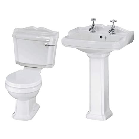 Traditional Bathroom Basin Sink And Toilet WC Set Including Cistern  Fittings And Chrome Lever Handle: Amazon.co.uk: DIY U0026 Tools