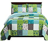 Rebekah Twin/ Twin XL Size, Over-Sized Quilt 2pc set, Luxury Microfiber Printed Coverlet by sheetsnthings