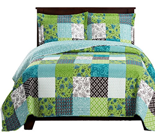 Royal Tradition Rebekah Printed Microfiber Oversized Full-Queen 3PC Quilt Set, Multi Colors of Green and Blue