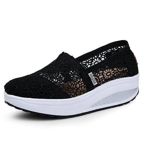 Mljsh Women's Mesh Slip-On Platform Toning Shoes Black Crochet Fitness Work  Out Sneaker US