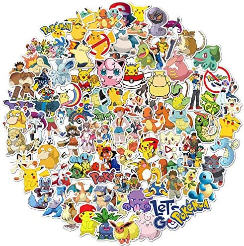 200 PCS Vinyl Waterproof Pokemon Stickers - Cartoon Decals for Laptop Water Bottles Luggage Cellphone Skateboard - Cute Anime Pikachu Stickers Gifts for Teens Kids Birthday Party
