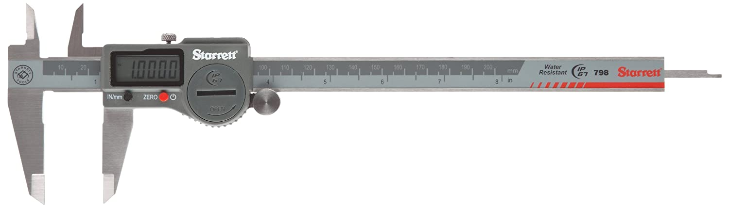 "Starrett 798A-8/200 Digital Caliper, Stainless Steel, Battery Powered, Inch/Metric, 0-8"" Range, +/-0.001"" Accuracy, 0.0005"" Resolution, Meets DIN 862 Specifications"