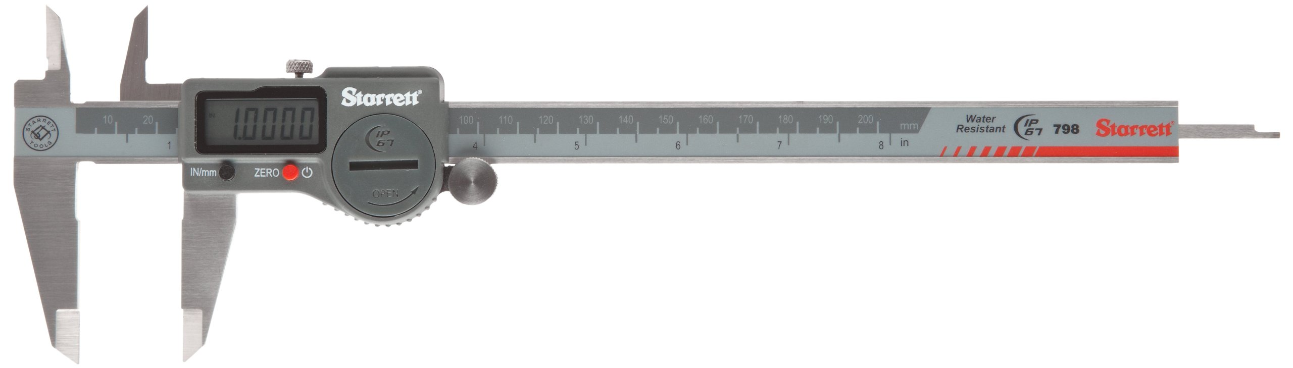 Starrett 798A-8/200TCAL Digital Caliper, Stainless Steel, Battery Powered, 0'' - 8'' Range, with NIST-Traceable Certificate of Calibration