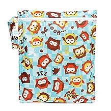 Bumkins Waterproof Zippered Wet Bag, Owl, Blue, 1-Pack