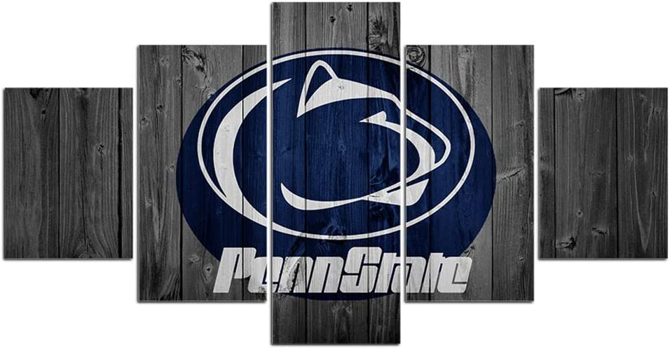 Penn State University Wall Decor Art Paintings 5 Piece Canvas Picture Artwork Living Room Prints Poster Decoration Wooden Framed Ready to Hang(60''Wx32''H)