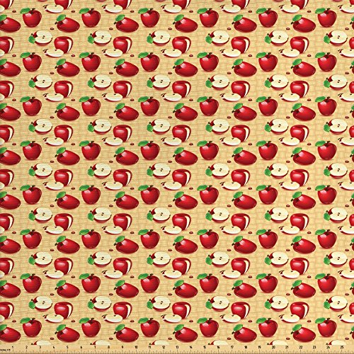Lunarable Apple Fabric by The Yard, Red Apples Whole and Sliced on Wicker Natural Wood Background Graphic Print, Decorative Fabric for Upholstery and Home Accents, Sand Brown Red - Fabric With Apples