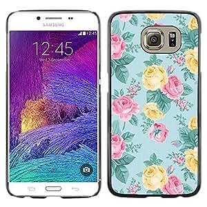 Modelo de Rose del trullo floral rosado amarillo- Metal de aluminio y de plástico duro Caja del teléfono - Negro - Samsung Galaxy S6