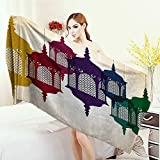 3D Printed Microfiber Beach Towel Lantern Decor Collection Antique Colorful Arabian Lantern Hang on Sky Traditional Islamic Art Design Thick Towels 63''x31.5'' Purple Red Yellow Green