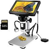 LCD Digital USB Microscope 7 in HD Screen 32 G TF Card, Circuit Board Repair Soldering PCB Coins,12mp Video Camera Microscope