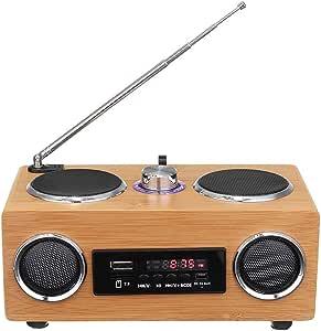 Retro Vintage Wooden FM Radio,Portable Knob to Adjust The Speaker, U Disk MP3 Player Remote Control LCD Display