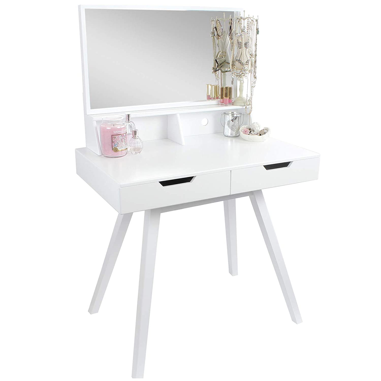 Modern White Vanity Makeup Dressing Table Desk With Large