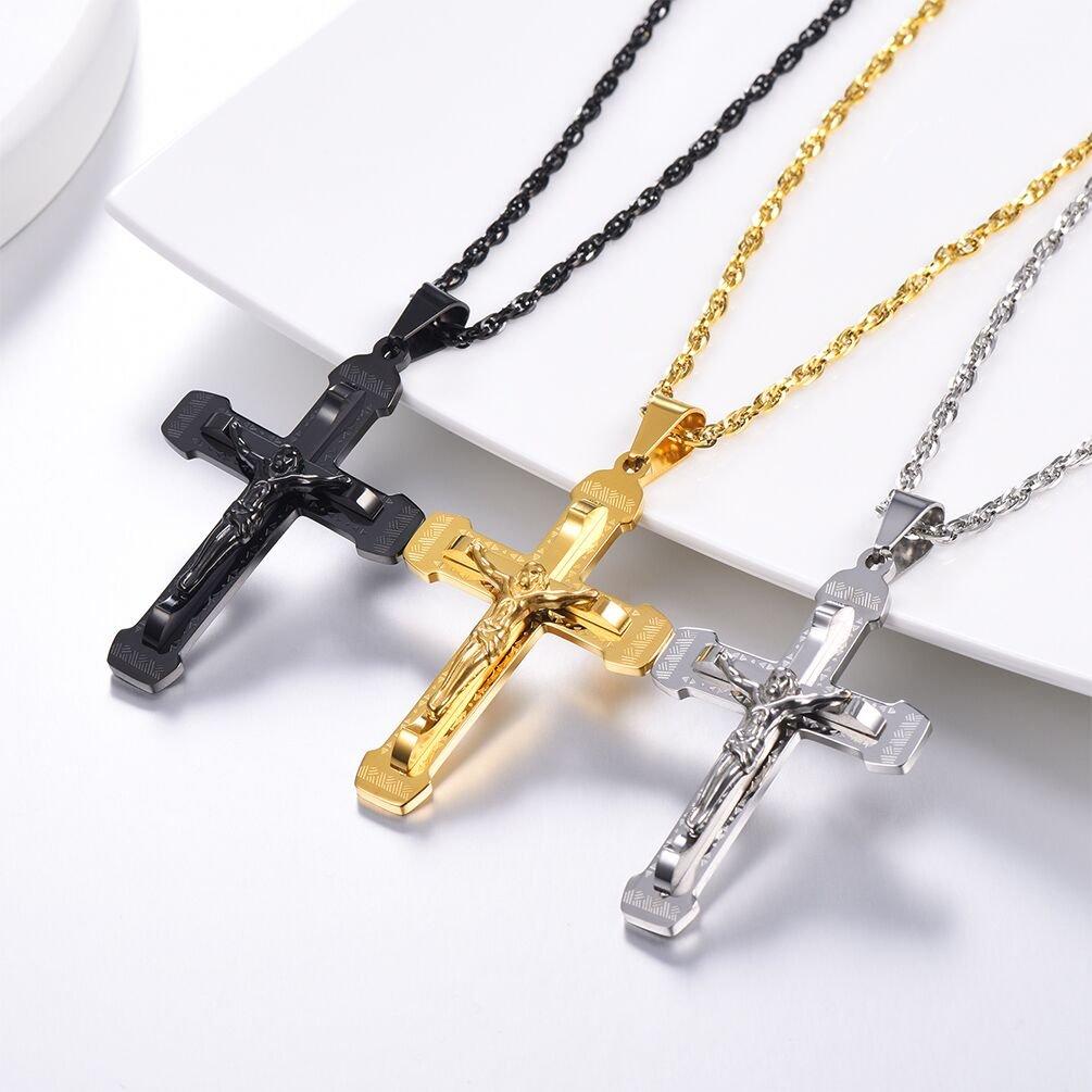 7f8eb467091d PROSTEEL Chapado en Oro Collar de Hombre Colgante de Cruz Jesucristo Collar  de Oro Tono  Amazon.es  Joyería