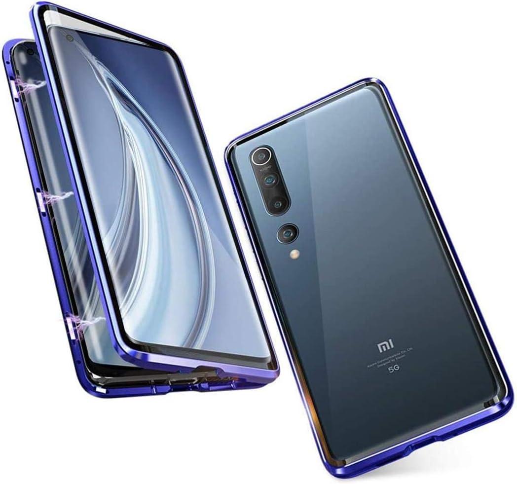 OnlyCase Funda para Xiaomi Mi 10 / Xiaomi Mi 10 Pro, 360 Grados Delantera y Trasera de Transparente Vidrio Templado Case Cover, Fuerte Tecnología de Adsorción Magnética Metal Bumper Cubierta - Azul