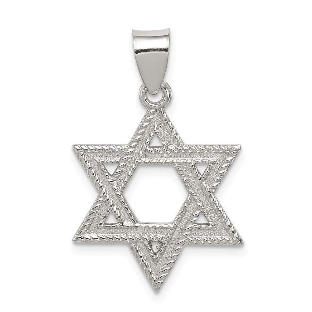 Jewel Tie Sterling Silver Satin Star of David Charm 0.91 in x 0.71 in