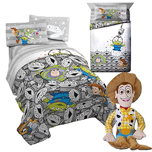 Franco Disney TOY STORY 5pc Twin Size REVERSIBLE Comforter and Sheet Set + WOODY Pillow Pal! - Disney Toy Story Sheets