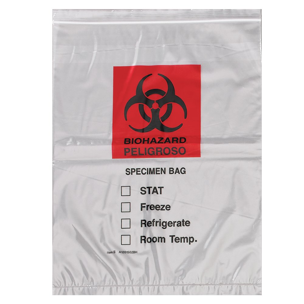 Action Health A1201502BH Specimen Bag, Biohazard, 3 Wall Flap, 304.8 mm Width, 406.4 mm Length, Red (Pack of 1000)
