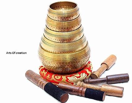 Amazon.com: Juego de 5 cuencos tibetanos martillados a mano ...