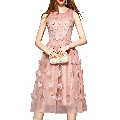 OANGEL Womens Vintage Embroidered Floral Tulle Party Formal Prom Dresses (L, Pink)