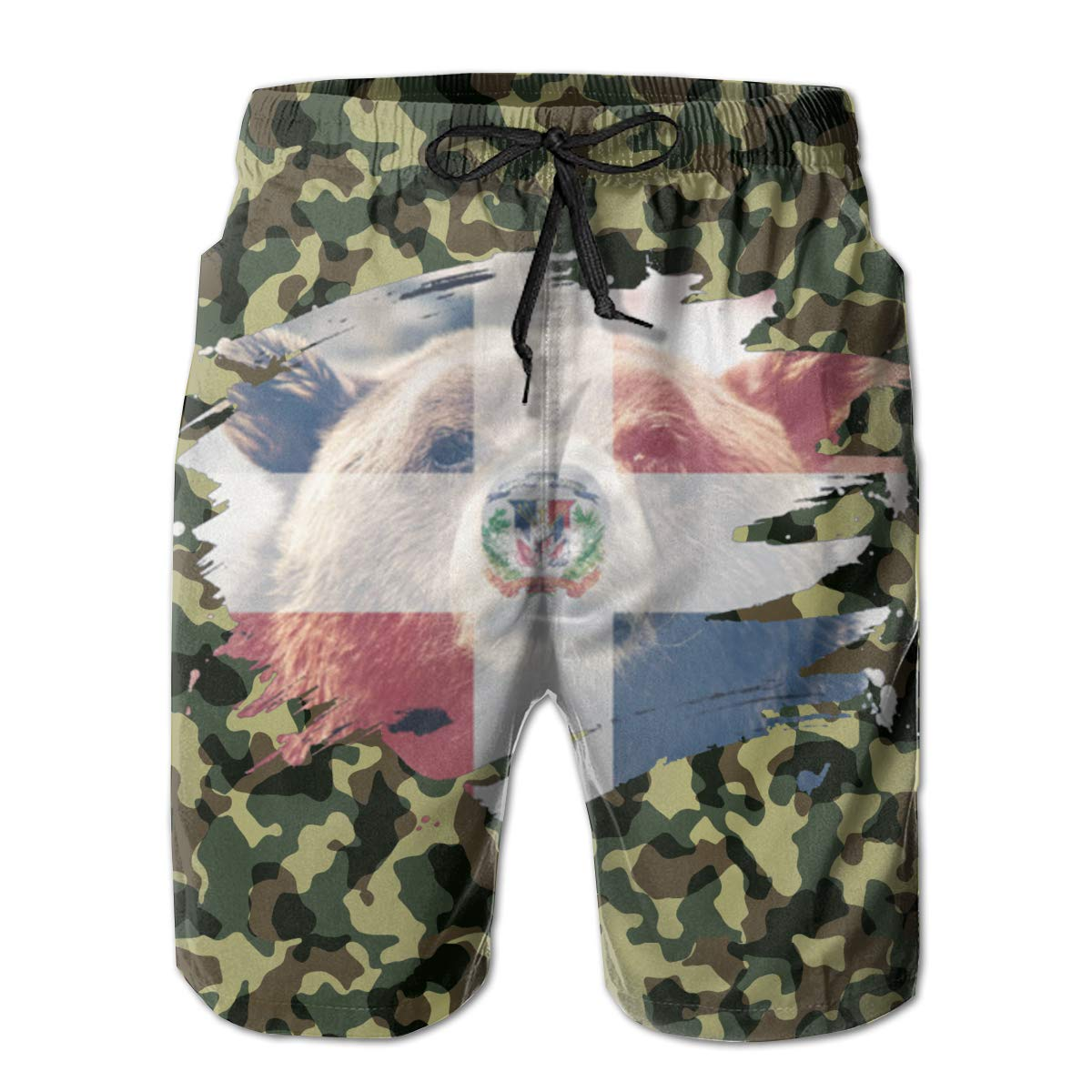 Reality And Ideals Dominican Republic Flag /& Bear Mens Swim Trunks Board Shorts