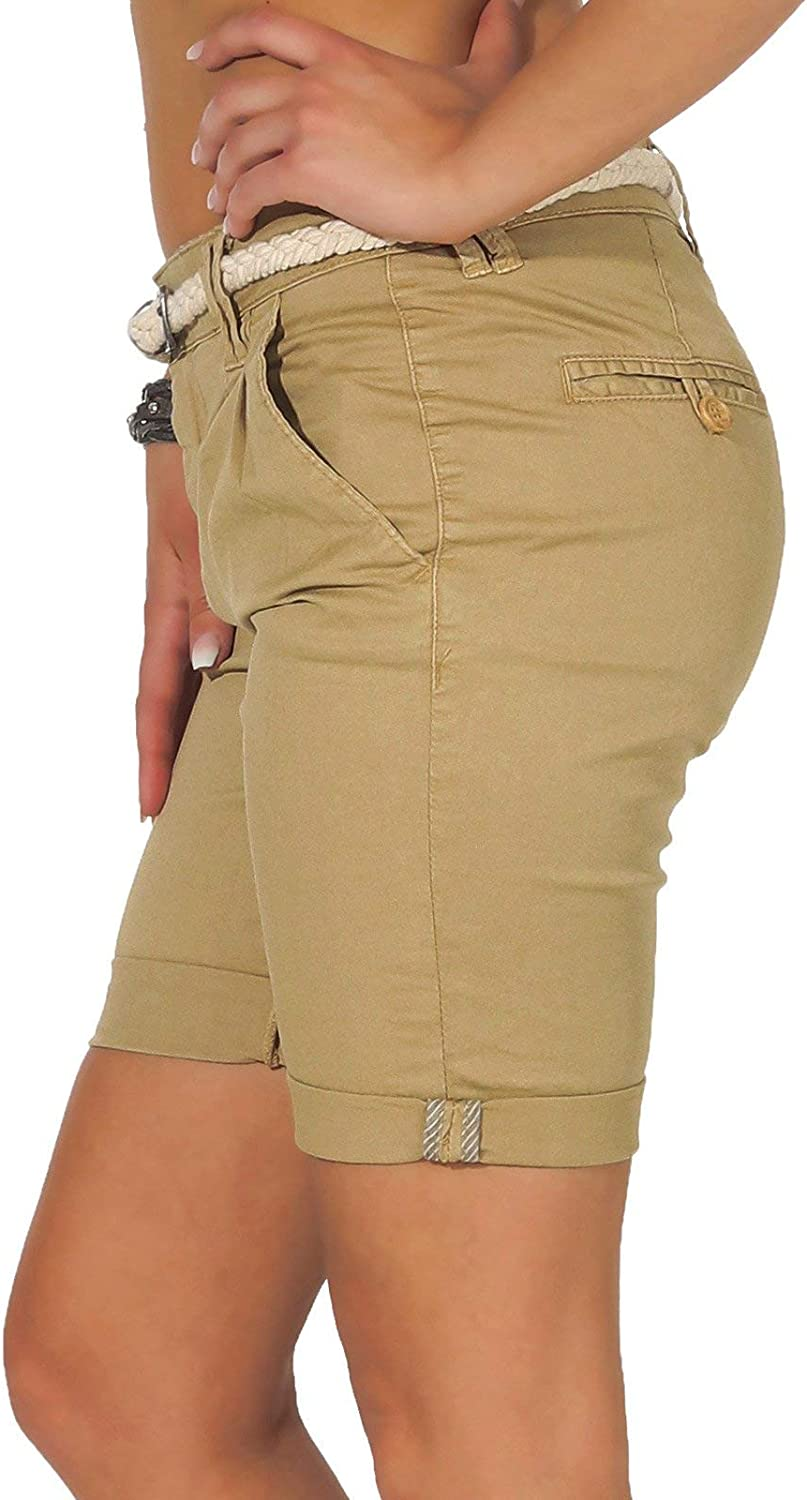 Eight2Nine Damen Chino Shorts LETN-025 Kurze Hose mit G/ürtel