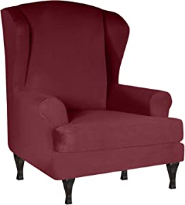 YBENWL Wing Chair Slipcover, Stretch Armchair Covers Jacquard 2 Piece Wingback Chair Cover Spandex Elastic Sofa Covers Furniture Protector Machine Washable for Living Room Bedroom