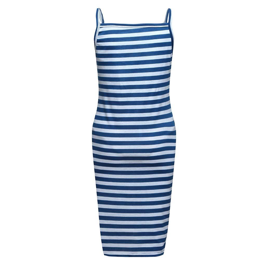 Maternity Sleeveless Strap Dress, Women Breastfeeding Sundress Lady Striped Print Pregnancy Dress (US:10, Blue)