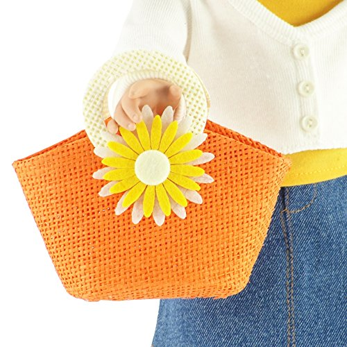 18-inch Doll Accessories | Doll-Sized Woven Orange and Cream Daisy Flower Purse - Handbag | Fits American Girl Dolls Daisy Handbag Purse