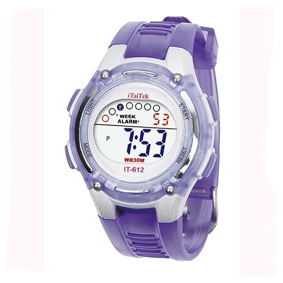 SMARTLADY Moda Niños Niñas Natación Deportes Digital Impermeable Reloj de pulsera (Morado)