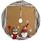 WeRChristmas 3D Santa And Snowman Christmas Tree Skirt Decoration, 122 Cm - Brown/Multi-Colour