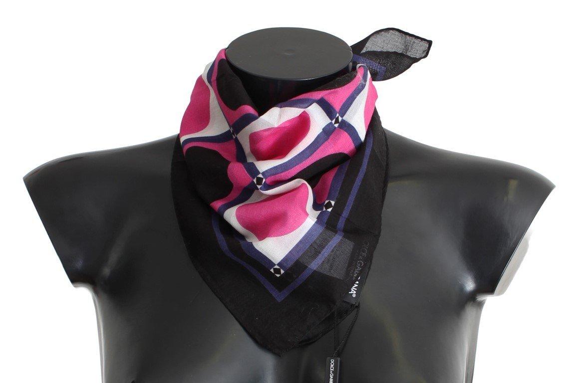 Dolce & Gabbana Pink Black White Dotted Cotton Scarf