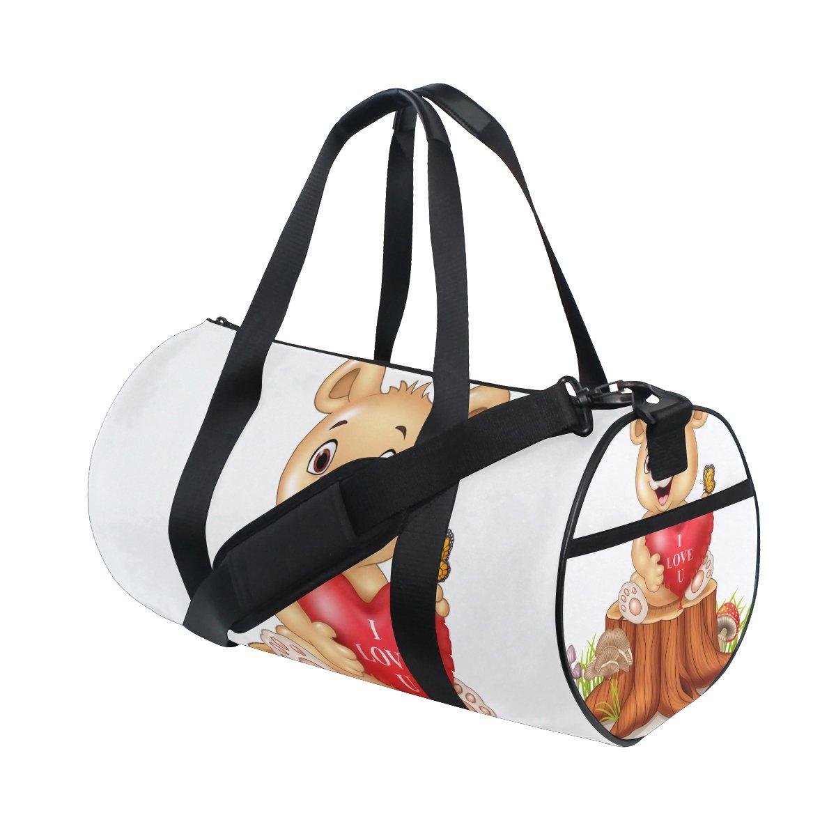 U LIFE Valentines Day Bear Butterfly Heart Love You Summer Spring Sports Gym Shoulder Handy Duffel Bags for Women Men Kids Boys Girls
