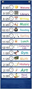 Kruideey Daily Schedule Pocket Chart, 13+1 Pocket Visual Schedule Chart, 18 Double-Sided Blank Reusable Dry-Eraser Cards, Educational Schedule Charts for Classroom Homeschooling Toddlers-Blue