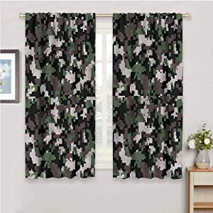 DIMICA Room Darkened Heat Insulation Curtain Camo Pixelated Digital Abstract Print Living Room Decor Blackout Shades W108 x L84 Inch
