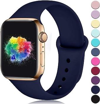 Imagen deYoumaofa Correa Compatible con Apple Watch 38mm 40mm, Correa de Silicona Repuesto Pulsera Deportivas para iWatch Series 5 Series 4 Series 3 Series 2 Series 1, 38mm/40mm M/L Azul Oscuro
