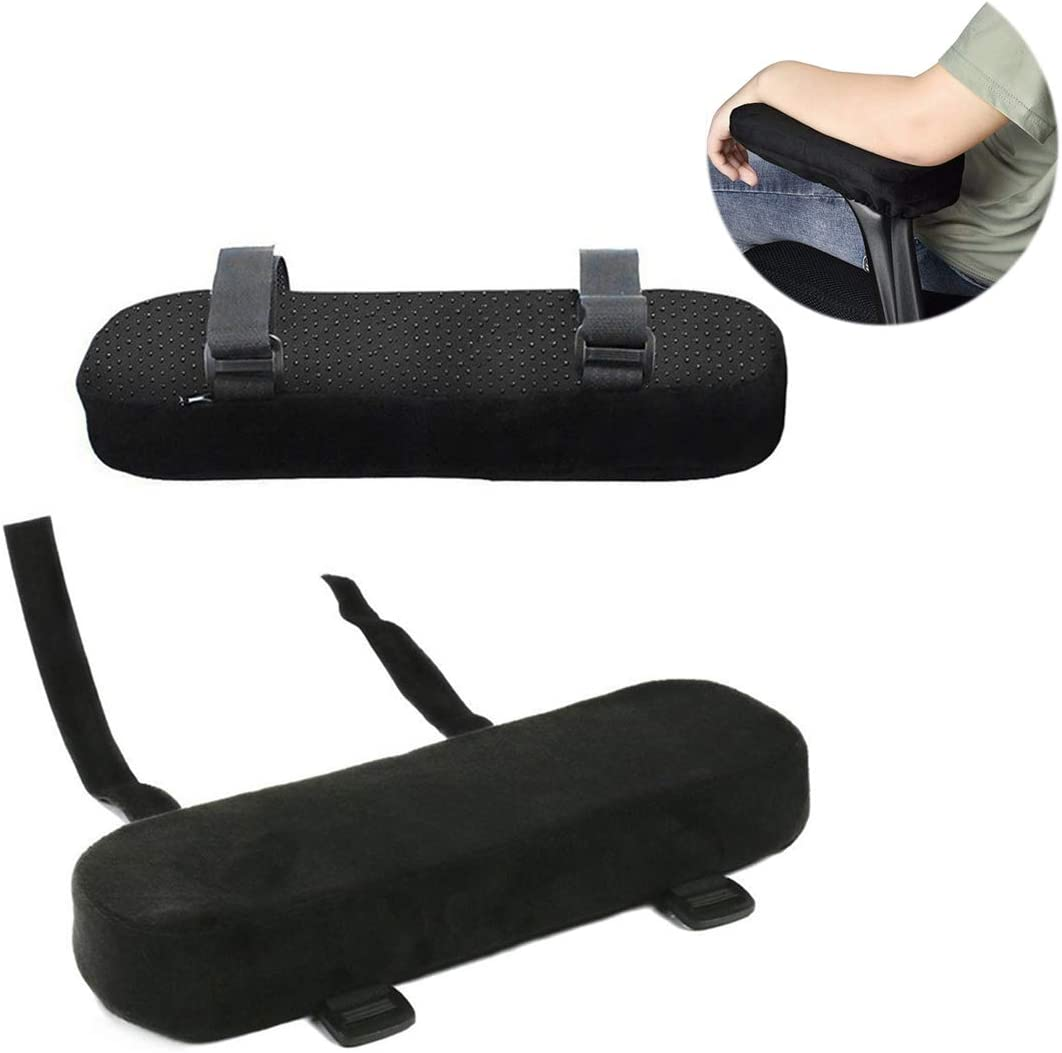 Wheelchair Black 2 Pack Office Arm Chair Covers with Memory Foam Elbow Pillow Chair Armrest Pads for Forearm Pressure Relief Comfy Gaming Chair Use in Office Chairs