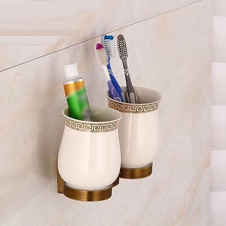 PY Taza Doble del Cepillo de Dientes del Cobre Antiguo Europeo del Cuarto de baño,