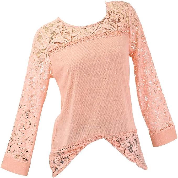 iMixCity Blusa Donna Elegante Manica Lunga Camicia in Pizzo Inverno Felpa Casual in Maglia Tops a Tunica Sciolti Camicetta Casuale