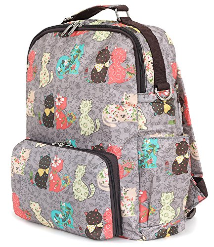 ililily Backpack Folded Pack Grey Lightweight Casual Small Cat Pattern Day 7rxwqtOr