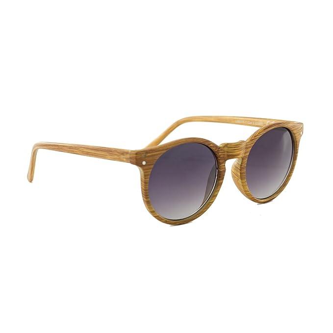 Occhiali Da Sole Marca Isurf Ray Round Basic Wood Ban Unisex Rotondi Effetto Legno Specchiati Sfumati (effetto Legno Lente Nera Sfumata) 1wBSFJ