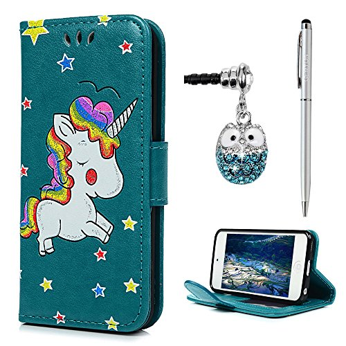 iPod Touch 6 / 5 Wallet Case, 3D Printed Bling Colorful Unicorn Premium PU Leather with Kickstand Card Holder Magnetic Flip Hand Strap Soft TPU Inner Bumper Full Protective Cover (Unicorn) - Ipod Video Leather Case Cover
