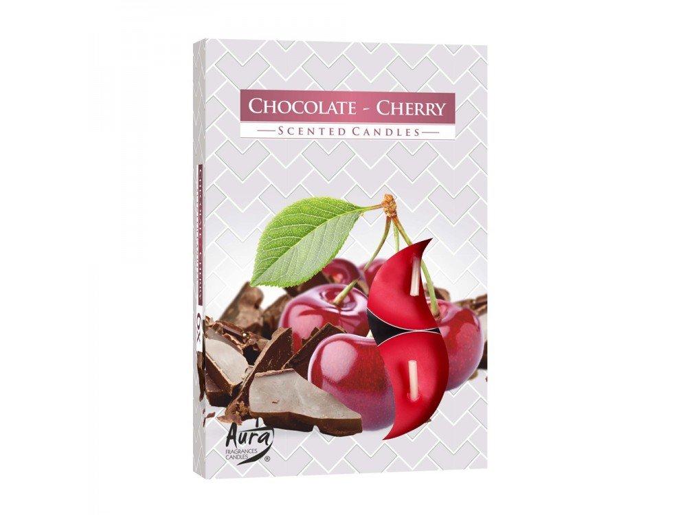 GIRM® - HX922302 Candele profumate , di paraffina, all'aroma di cioccolato e ciliegia. Set 6 Pezzi - Tealight Profumatore per ambiente. Candele odorate per la casa . Aromaterapia AB.M