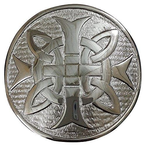 AAR Cross Round Men's Scottish Kilt Belt Buckle Chrome/Antique Finish 3