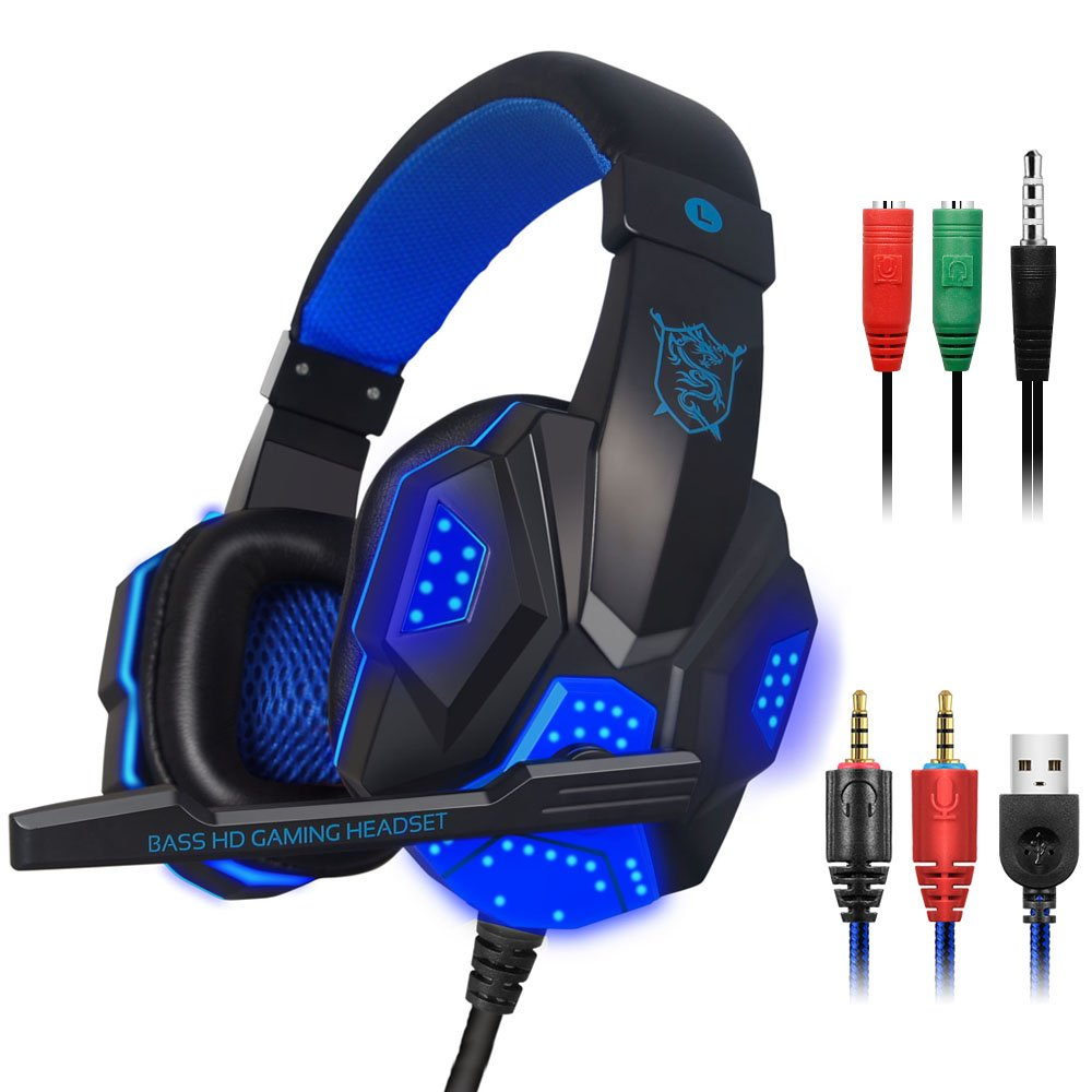 maxin Gaming Headset for Laptop Computer, Cellphone, PS4 and so on, 3.5mm Wired Noise Isolation Gaming Headphones with Mic and LED Light- Volume Control.(Black and Blue)