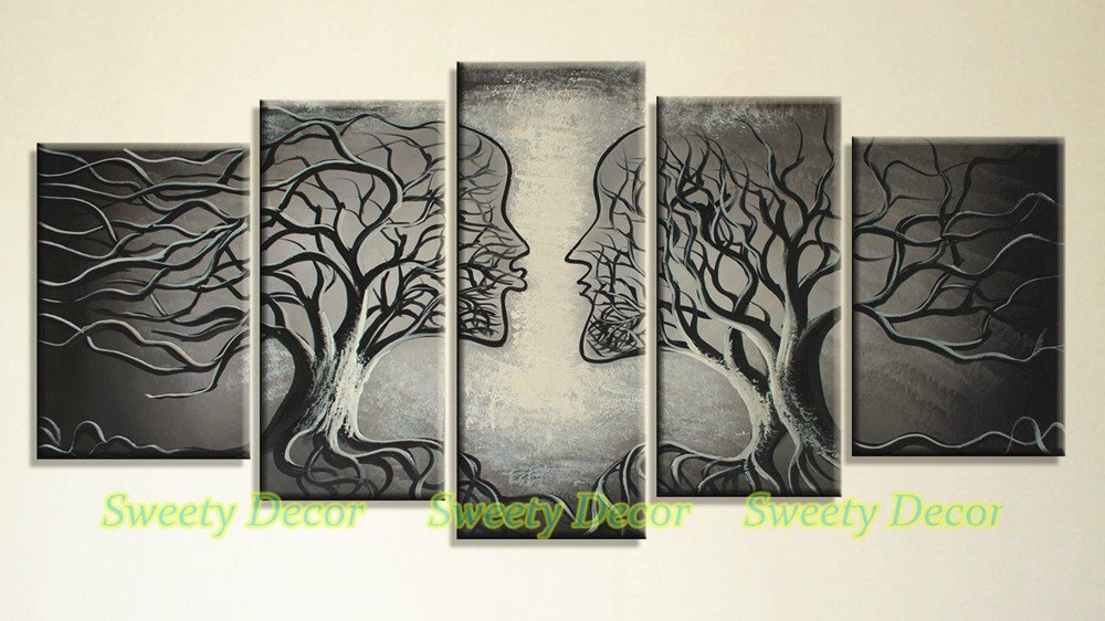 Sweety Decor Black And White Gray Handpainted Abstract Love Kiss Tree Contemporary Painting On Canvas Wall Art For Bedroom Ready to Hang 5 Panels Home Decoration